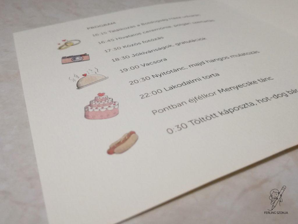 A meghívó belsejébe is kerültek illusztrációk